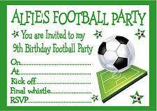 PERSONALISED INVITES CHILDRENS BOYS FOOTBALL BIRTHDAY PARTY INVITATIONS X 10
