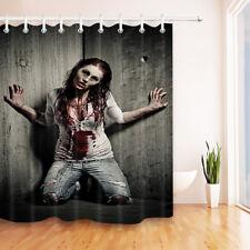 "Halloween Zombie Woman Bathroom Polyester Fabric SHOWER CURTAIN Set HOOKS 72x72"""