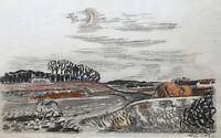 Aquarell Karl Adser (1912-1995) Winterlandschaft mit Mond und Reh 38 x 24 cm