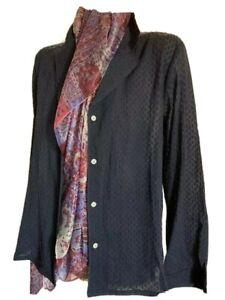$120 New XL Skin sheer  long 100% cotton shirt top blouse 3 UK XL navy blue