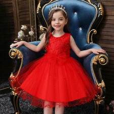 Christmas Princess Kids Girls Sequins Tulle Tutu Dress Bridesmaid Wedding Gown