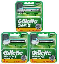 12x Gillette Mach3 Sensitive Rasierklingen 3x 4er OVP Gillete Gilette Gilete