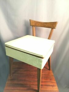 Danish Style Vintage Sewing Seat With Storage Mid Century Modern Peg Wood Chair
