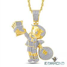 10 Karat Solid Gold, Richie Rich Natural Diamond Pendant .90 Carats,  Cartoon