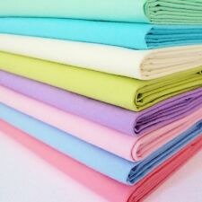 8 X FQ BUNDLE -  PASTEL PALE BABY COLOURS - PLAIN SOLID  DEVON COTTON FABRIC