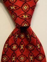 ERMENEGILDO ZEGNA Men's 100% Silk Necktie ITALY Luxury Geometric Red/Yellow EUC