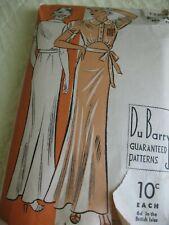 Antique Vintage Sewing Pattern 1930's Miss Shirtwaist Night Dress Puff Sleeve