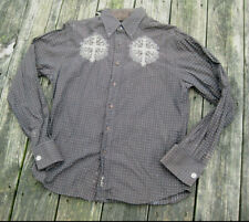 2fb2262ff4f3b4 FENDER Cross Fleur de Lis Embroidered Brown Button Front Shirt M Rockabilly  VLV