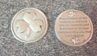 Good Luck Token Coin Irish Shamrock Pocket Pot of Gold Wishes Poem Clover Leaf