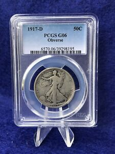 1917-D OBVERSE MINT MARK WALKING LIBERTY HALF DOLLAR 50c *PCGS G6 GOOD*