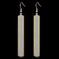 Golden Filled Long Strip Boho Drop Earrings For Women Long Druzy Ear Jewelry New