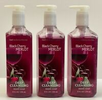 3 BATH & BODY WORK BLACK CHERRY MERLOT  DEEP CLEANSING HAND SOAP 8OZ NEW