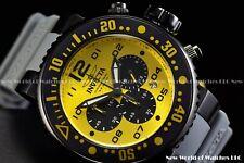Invicta 52mm Pro Diver Quartz Yellow Dial Grey Silicone Strap Chronograph Watch