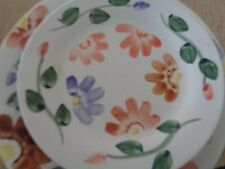 Daily Dining Stone ware Hand Painted Bouquet 4 dinner plates & 4 salad plates