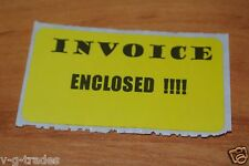 Lot Of 100 Yellow Invoice Enclosed Shipping Stickers Care 2X1 Inch