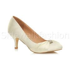 Womens Ladies Low Mid Heel Diamante Party Smart Evening Court Shoes Size UK 8 / EU 41 / US 10 Ivory Satin Beach