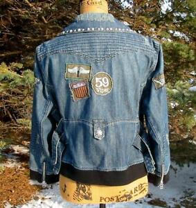 Double D Ranch Ranchwear Distressed Denim Moto Patches 3/4 Sleeve Jacket XL EUC