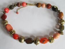 GOLD ORANGE BROWN chunky bead necklace fashion mixed beads VGUC