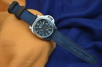 MA WATCH STRAP 26 24 22MM NUBUCK LEATHER FOREST BLUE BROWN HANDMADE FOR PANERAI