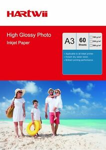 60 Sheets A3 180 / 240 / 260 Gsm High Glossy Photo Inkjet Paper Hartwii 420x297
