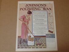1923 JOHNSON'S POLISHING WAX Paste Liquid Powdered vintage art print ad