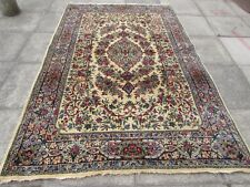 Fine Antique Traditional Hand Made Vintage Oriental Wool Cream Carpet 266x175cm