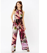 New COAST Amalfi Purple Floral Summer Evening Maxi Jumpsuit Size 16 £119 Holiday
