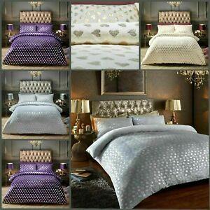 Teddy Heart Foil Fleece Duvet Quilt Cover Set Printed Warm Winter Velvet Bedding