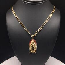 """Cadena De 26"""" Oro Laminado Con Virgen De Guadalupe Y Piedras Coloradas (Mexico)"""