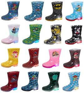 Boys Girls Character Light Up Wellington Boots Kids Flashing Snow Rain Wellies