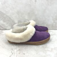 LL Bean Women 9 Slippers Wicked Good Squam Lake Purple Suede Lambswool Lined