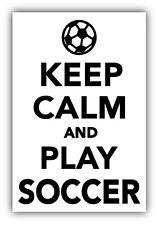 "Keep Calm And Play Soccer Car Bumper Sticker Decal 3"" x 5"""