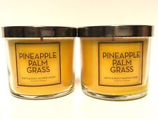 LOT 2 BATH BODY WORKS HOME PINEAPPLE PALM GRASS 4 OZ SCENTED FILLED CANDLE NEW