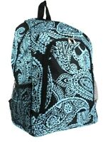 Paisley Turquoise Designed Cream Large School Book Bag Backpack