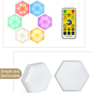6pcs RGB LED Quantum Wall Lamp Hexagonal Touch Switch Night Light Remote Control