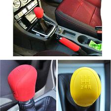 2pcs Nonslip Car Gear Head Shift Knob Silicone Cover Auto Handbrake Grips Set