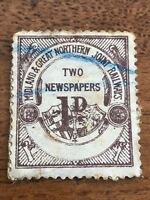 great northern railway - two newspaper 1 d stamp
