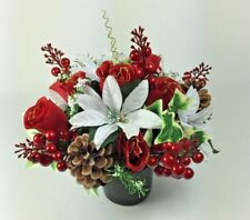 Artificial silk flowers memorial Crem Pot Grave arrangement CHRISTMAS RED/WHITE