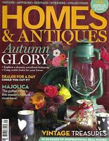 Homes and Antiques Magazine Autumn Decor Majolica Vintage Treasure Finds 2013