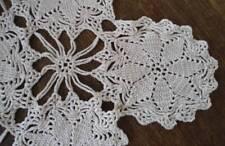 "True Vintage Crochet Lace Table Runner Ecru Cotton Star Medallions 32"""