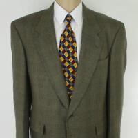 44 R Hart Schaffner Marx Brown Plaid Tweed Wool Mens Jacket Sport Coat Blazer