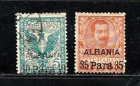Italy stamps, offices in Albania #1 & 2, mint & used, 1902, SCV $12.00