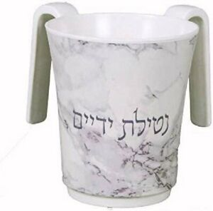 Large 2-Handled Melamine Washing Cup Faux Marble Design (Gray & Beige)