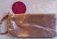 "Guess Gold Starry Night Lame Clutch Zipper Pouch NWT Wristlet 5 x 10"" w/Strap"
