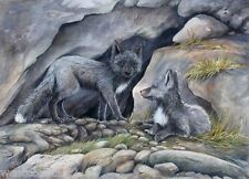 Sue Coleman Painting Wolf Cubs Listed Canadian
