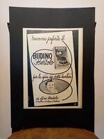 Pubblicità originale Budino Bertolo anni '50 da rivista in passepartout
