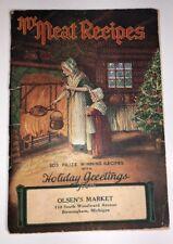 Meat Recipes Olsen's Market Birmingham Michigan Christmas Art Scene C 1930