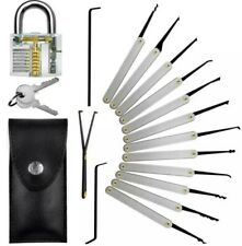 Lock Pick Set Key Extractor Clear Practice Padlock Multi tools & Flashlight