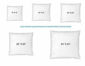 """DUCK FEATHER CUSHION PADS INNERS INSERTS FILLERS SCATTERS ALL SIZES 16"""" to 24"""""""