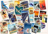 Retro Vintage Aviation Posters in A4 Size - KLM, British Airways, PAN AM, Virgin